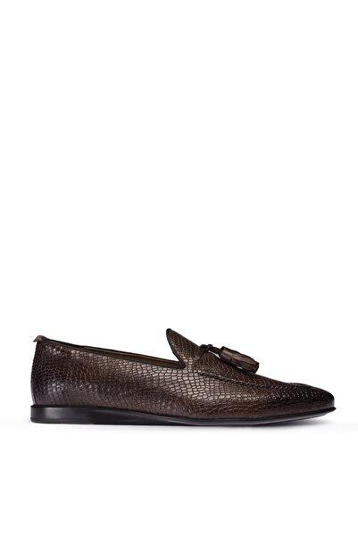 Deery Erkek Kahverengi Hakiki Deri Kroko Loafer Ayakkabı