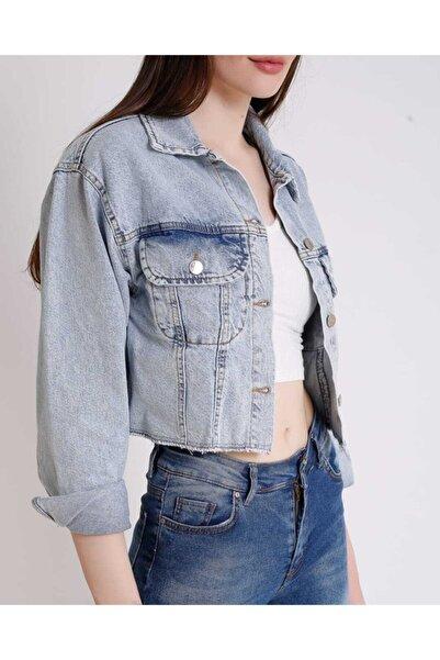 LUND Kadın Mavi Mickey Mouse Beli Dikişsiz Crop Denim Ceket