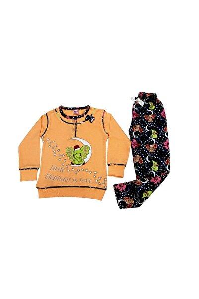 Tarık Kız Çocuk Turuncu Aylı Fil Baskılı Pjama Takımı