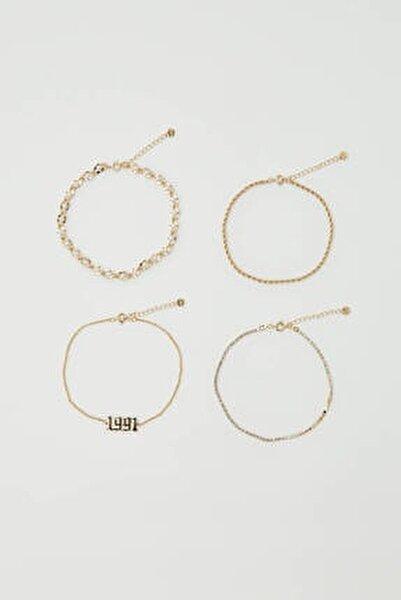 Kadın Altın Rengi Yıl Detaylı Altın Rengi Halhal Seti 09996381