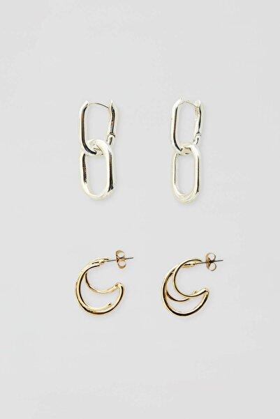 Pull & Bear Kadın Gümüş Karma Küpe Seti 09996385