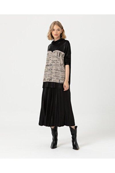 SEÇİL Kadın Siyah Yazı Desenli Bluz