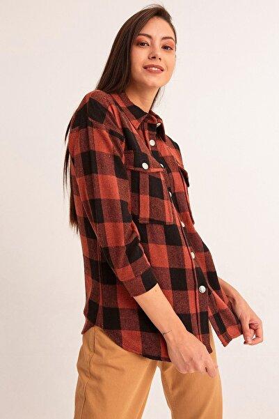 Fulla Moda Kadın Kiremit Cepli Oduncu Gömlek