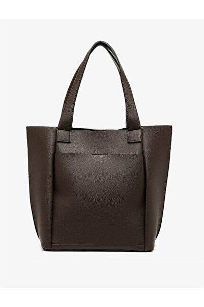 Koton Kadın Kahverengi Deri Görünümlü Omuz Çantası