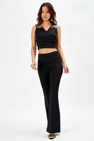 Sense Kadın Yuksek Belli Dalgıç Ispanyol Paca Pantolon Siyah