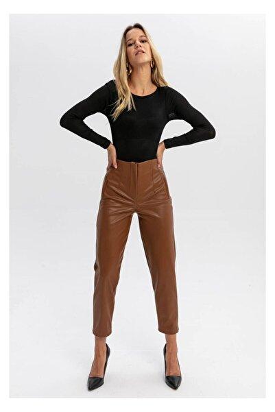 TIFFANY&TOMATO Kadın Kahverengi Pensli Yüksek Bel Deri Pantolon