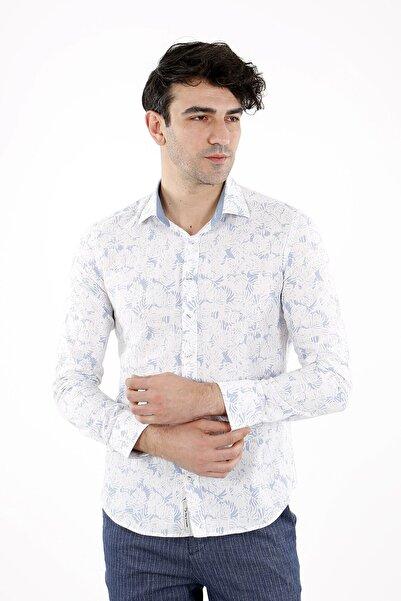 Jakamen Erkek Mavi Dar Kalıp - Slim Fit Gömlek- Normal Manşet