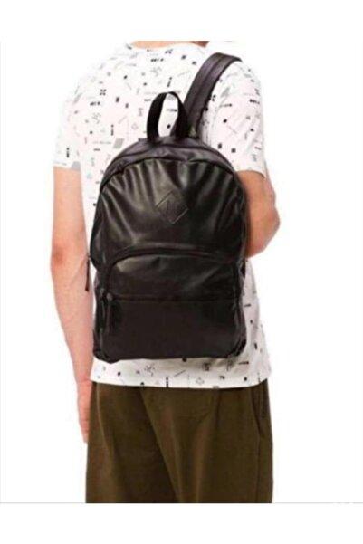 Koton Unisex Siyah Deri Görünümlü Sırt Çantası