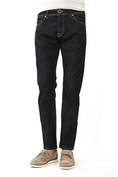 Jakamen Erkek Lacivert Slim Fit 5 Cep Serili Kot Pantolon