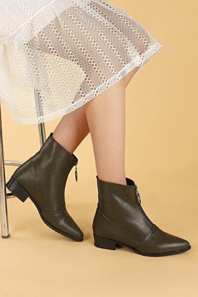 Ayakland Kadın Haki Cilt Fermuarlı Termo Taban Bot Ayakkabı