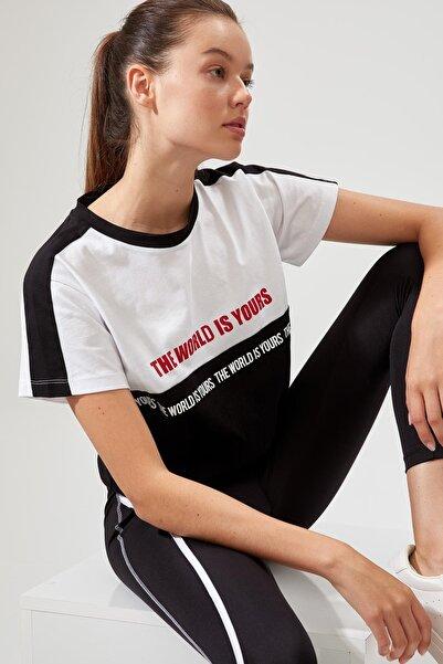 DeFacto Kadın Siyah Beli Bağcıklı Baskılı Pamuklu Oversize Tişört