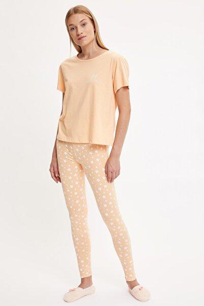 DeFacto Fit Kadın Baskılı Uzun Kollu Pijama Takımı