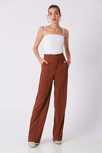Robin Kadın Kahverengi Bol Paça Kumaş Pantolon