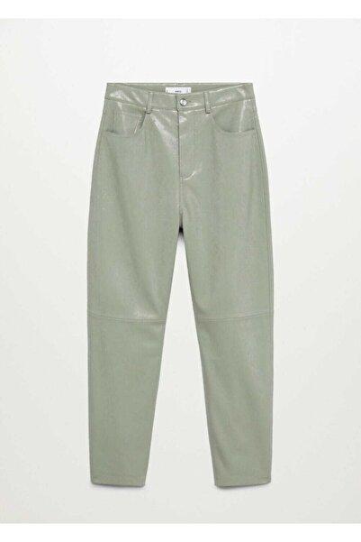MANGO Woman Kadın Yeşil Pantolon