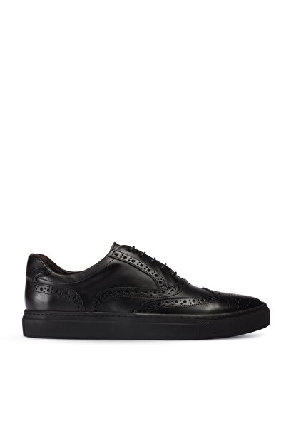 Deery Erkek  Siyah Hakiki Deri Sneaker