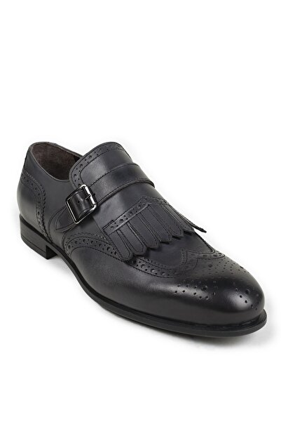 Deery Erkek Gri Hakiki Deri Klasik Ayakkabı 01680MSYHC01