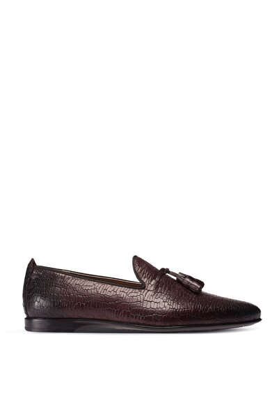 Deery Erkek Bordo Kroko Hakiki Deri Loafer Ayakkabı