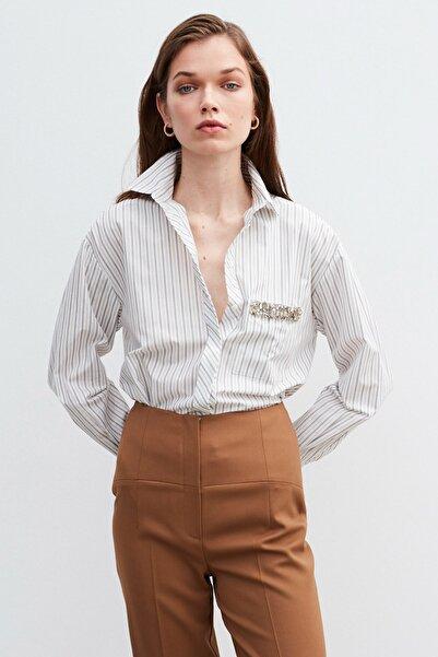 İpekyol Kadın Beyaz Çizgi Desen Gömlek