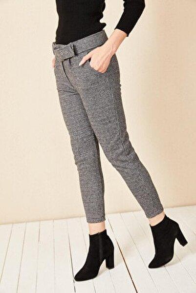 Kadın Gri Ekose Desen Pantolon