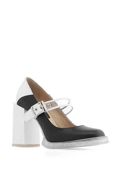İLVİ Kadın Bebe Topuklu Ayakkabı Siyah Deri-Beyaz Rugan