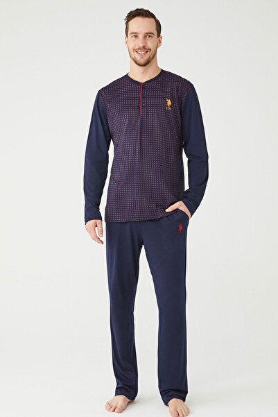 U.S POLO Erkek Bordo Patlı Pijama Takım