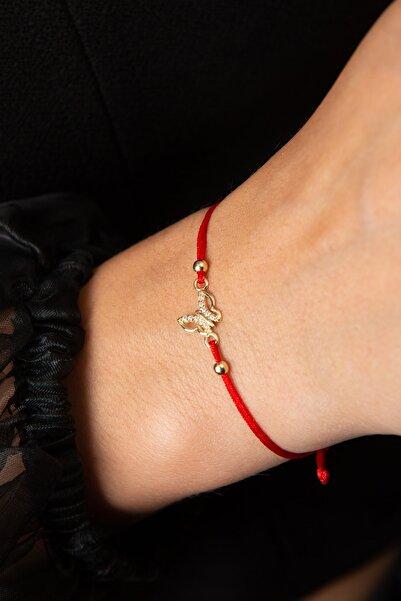 Elika Gold Kadın Kelebek Model Kırmızı Ipli 14 Ayar Altın Bileklik