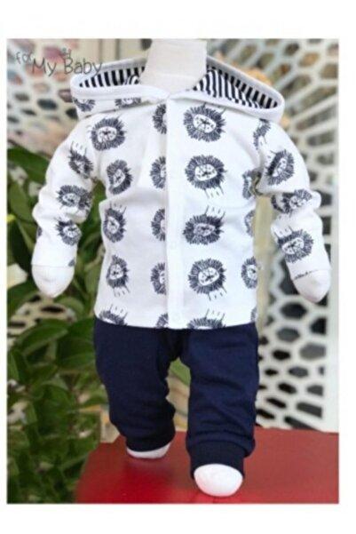 For My Baby Erkek Bebek Aslan Desenli Kapşonlu Lacivert Ikili Takım