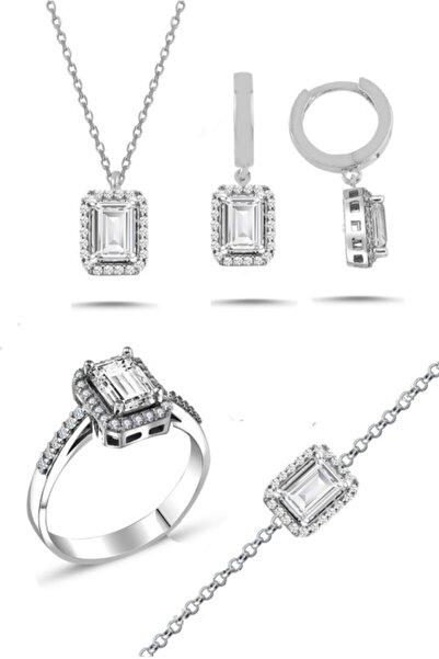 Trend Silver Gümüş Baget Taşlı Pırlanta Modeli Dörtlü Set Kolye Küpe Bileklik Yüzük Seti