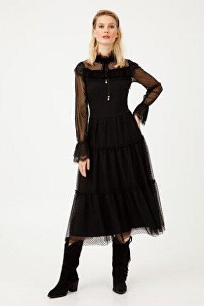 Kadın Siyah Tül Detaylı Uzun Kollu Dik Yaka Elbise 04075