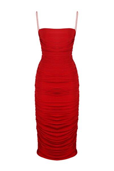 Whenever Company Kadın Kırmızı İnce Askılı Drapeli Midi Elbise