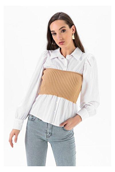 TIFFANY&TOMATO Kadın Beli Korseli Gömlek