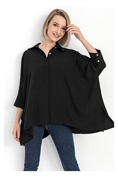 TIFFANY&TOMATO Kadın Siyah Yarasa Kol Gömlek