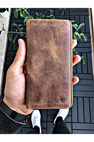 WATCHOFROYAL Leon Crazy Taba Telefon Cüzdanı