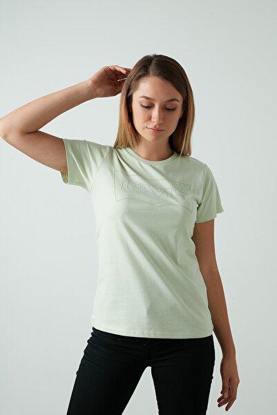 Levi's Kadın Yeşil Pamuklu Bisiklet Yaka Tişört
