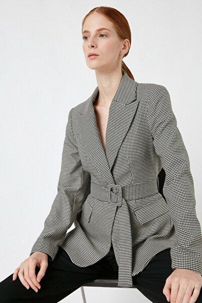 Koton Kadın Ekru Desenli Ceket 1KAK52672UW