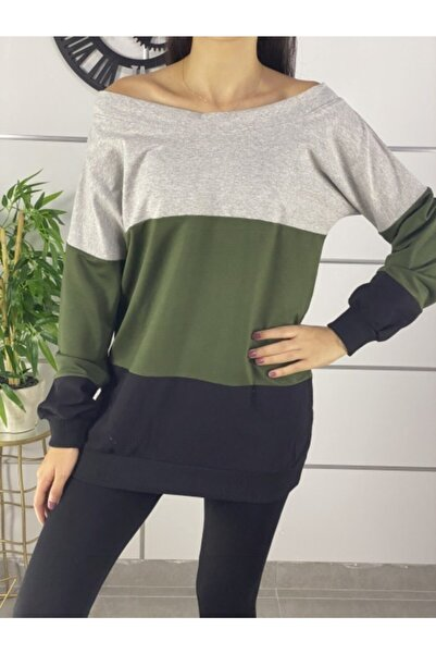 ELBİSENN Kadın Yeşil Sırt Dekolteli Denkli Bloglu Bluz