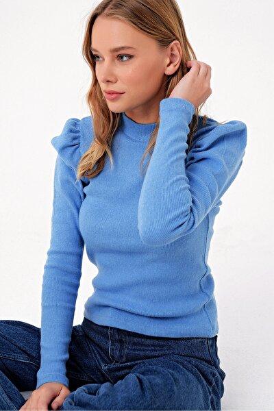 Trend Alaçatı Stili Kadın Mavi Prenses Kol Yarım Balıkçı Şardonlu Crop Bluz ALC-X5042