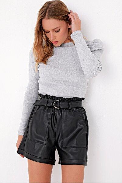 Trend Alaçatı Stili Kadın Grimelanj Prenses Kol Yarım Balıkçı Şardonlu Crop Bluz ALC-X5042