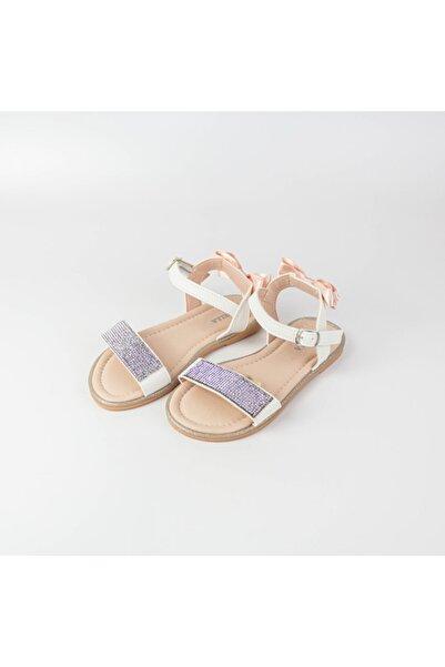 Modatamam Kız Çocuk Beyaz Taşlı Sandalet