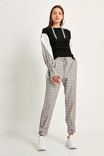 Say Kadın Pudra Yanları Siyah Şeritli Paçası Kemerli Ekose Pantolon