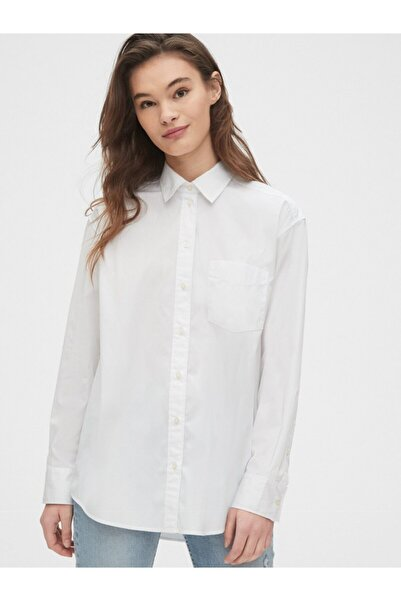 GAP Kadın Beyaz Uzun Kollu Poplin Gömlek 538775