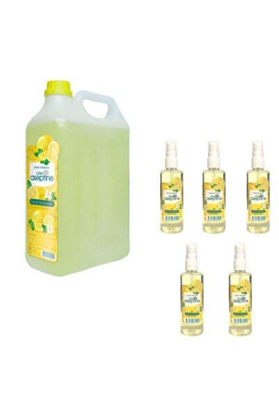 CIRE ASEPTINE 1 Litre Limon Kolonyası + 5 Adet Spreyli 100 Ml Limon Kolonyası Cire Aseptine