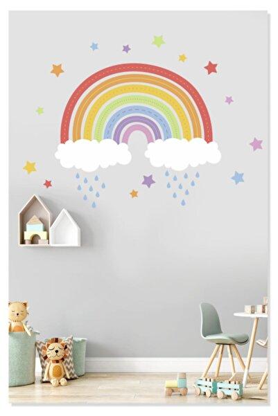 Sticker Sepetim Gökkuşağı Renkli Yıldızlar Bulutlar Ve Yağmur Çocuk Odası Duvar Sticker