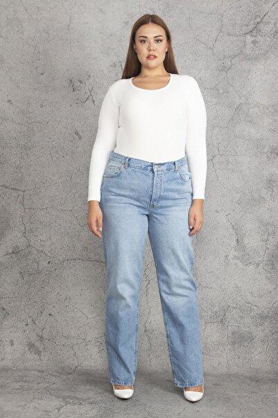 Şans Kadın Mavi Yıkama Efektli 5 Cep Kot Pantolon 65N19256