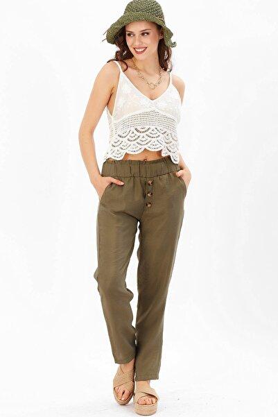 Arma Life Kadın Haki Düğme Detaylı Pantolon