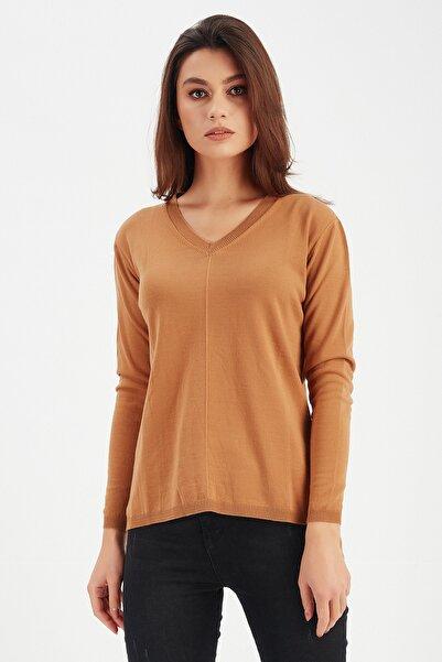 Manche Kadın Karamel Basic Bluz