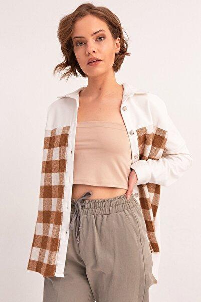 Fulla Moda Kadın Taba Ekose Desenli Gömlek
