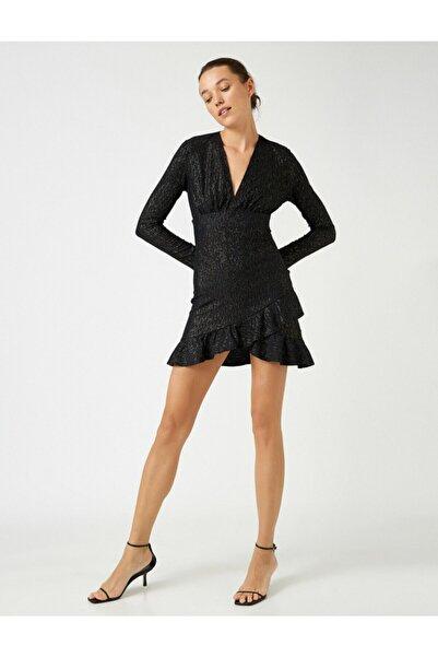 Koton Kadın Siyah  Volanli Uzun Kollu Metalik Detayli Kisa Elbise