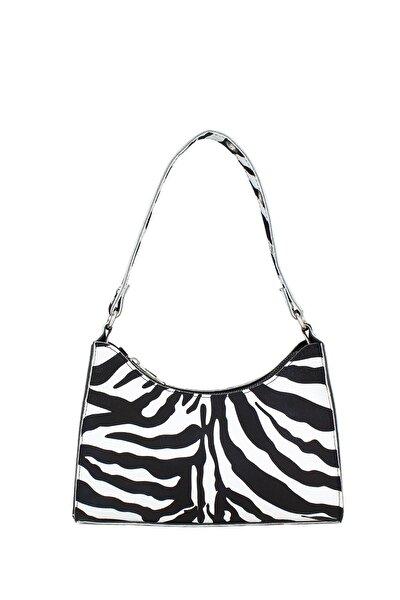 Housebags Kadın Zebra Desenli Baguette Çanta 195