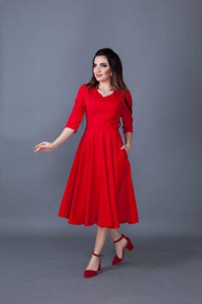 Bidoluelbise Kadın Kırmızı Midi Boy Cep Detaylı V Yaka Elbise